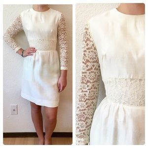 60s Mod GoGo White Lace Sleeve Mini Wedding Dress